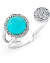 Anne Sisteron - 14kt White Gold Diamond Turquoise Disc Nikki Ring - Lyst