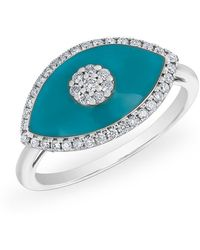Anne Sisteron - 14kt White Gold Diamond Turquoise Evil Eye Summer Ring - Lyst