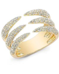 Anne Sisteron - 14kt Yellow Gold Diamond Triple Horn Ring - Lyst