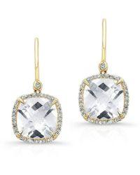 Anne Sisteron - 14kt Yellow Gold White Topaz Diamond Cushion Cut Earrings - Lyst