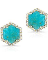 Anne Sisteron - 14kt White Gold Turquoise Diamond Hexagon Stud Earrings - Lyst