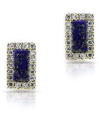 Anne Sisteron - 14kt Yellow Gold Lapis Diamond Bar Stud Earrings - Lyst