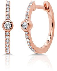 Anne Sisteron - 14kt Rose Gold Diamond And Bezel Huggie Earrings - Lyst