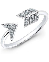 Anne Sisteron - 14kt White Gold Diamond Arrow Ring - Lyst