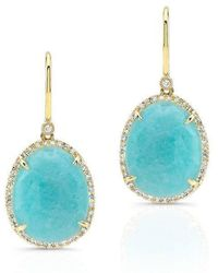 Anne Sisteron | 14kt Yellow Gold Diamond Oval Amazonite Diamond Earrings | Lyst