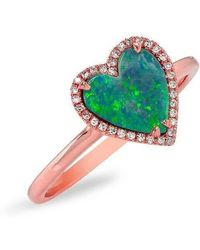 Anne Sisteron - 14kt Rose Gold Opal Diamond Heart Ring - Lyst
