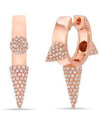 Anne Sisteron - 14kt Rose Gold Diamond Extreme Punk Rock Huggie Earrings - Lyst