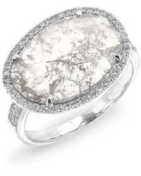 Anne Sisteron | 14kt White Gold Oval Diamond Slice Ring | Lyst