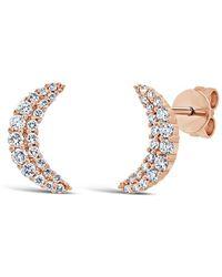 Anne Sisteron - 14kt Rose Gold Diamond Crescent Moon Stud Earrings - Lyst