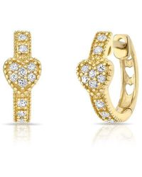 Anne Sisteron - 14kt Yellow Gold Diamond Heart Huggie Earrings - Lyst
