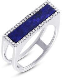 Anne Sisteron - 14kt White Gold Lapis Lazuli Diamond Bar Ring - Lyst