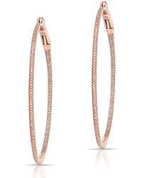 "Anne Sisteron - 14kt Rose Gold Diamond 2"" Hoop Earrings - Lyst"