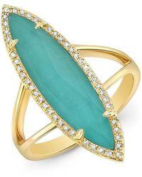 Anne Sisteron - 14kt Yellow Gold Diamond Small Turquesa Ring - Lyst