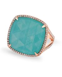 Anne Sisteron - 14kt Rose Gold Diamond Turquoise Laguna Triplet Cushion Cut Cocktail Ring - Lyst