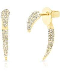 Anne Sisteron - 14kt Yellow Gold Diamond Mini Sabre Earrings - Lyst