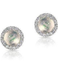 Anne Sisteron - 14kt White Gold Mini Round Opal Diamond Stud Earrings - Lyst