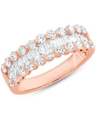 Anne Sisteron - 14kt Rose Gold Baguette Diamond Luxe Ysabel Ring - Lyst