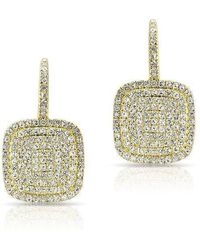 Anne Sisteron - 14kt Yellow Gold Diamond Cushion Earrings - Lyst