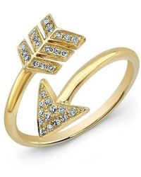 Anne Sisteron - 14kt Yellow Gold Diamond Wrap Around Arrow Ring - Lyst