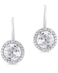 Anne Sisteron - 14kt White Gold Round White Topaz Diamond Earrings - Lyst