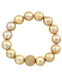 Anne Sisteron - Champagne Pearl Bracelet With Gold Fill Laser Cut Ball - Lyst