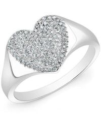 Anne Sisteron - 14kt White Gold Diamond Rachel Heart Ring - Lyst