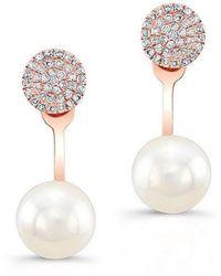 Anne Sisteron - 14kt Rose Gold Diamond Pearl Erica Floating Earrings - Lyst