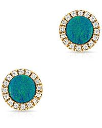 Anne Sisteron - 14kt Yellow Gold Opal Diamond Round Stud Earrings - Lyst