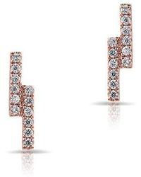 Anne Sisteron - 14kt Rose Gold Diamond Ridge Stud Earrings - Lyst