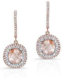 Anne Sisteron - 14kt Rose Gold Raw Diamond Double Halo Earrings - Lyst