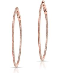 "Anne Sisteron - 14kt Rose Gold Diamond 2"" Hoop Earrings - Lyst"