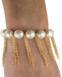 Anne Sisteron - White Pearl Bracelet With Yellow Gold-filled Fringe Chain - Lyst