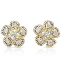 Anne Sisteron | 14kt Yellow Gold Diamond Slice Mae Flower Earrings | Lyst