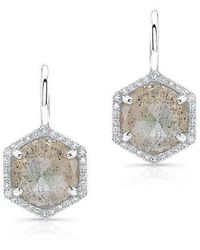 Anne Sisteron - 14kt White Gold Labradorite Diamond Hexagon Dangle Earrings - Lyst
