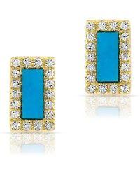 Anne Sisteron - 14kt Yellow Gold Turquoise Diamond Bar Stud Earrings - Lyst