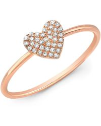 Anne Sisteron - 14kt Rose Gold Diamond Valentine Heart Ring - Lyst