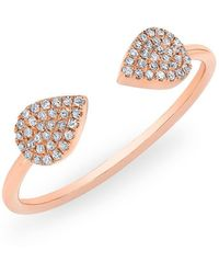 Anne Sisteron - 14kt Rose Gold Diamond Open Pear Pauline Ring - Lyst