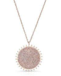 Anne Sisteron - 14kt Rose Gold Diamond Sun Necklace - Lyst