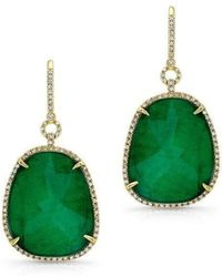 Anne Sisteron - 14kt Yellow Gold Emerald Diamond Earrings - Lyst