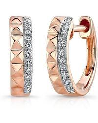 Anne Sisteron - 14kt Rose Gold Spike Diamond Huggie Earrings - Lyst