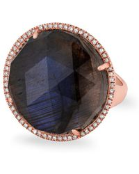 Anne Sisteron - 14kt Rose Gold Labradorite Diamond Round Cocktail Ring - Lyst