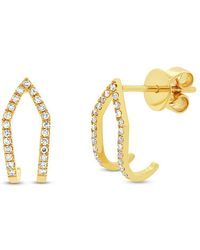 Anne Sisteron | 14kt Yellow Gold Diamond Victoria Huggies | Lyst