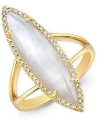Anne Sisteron - 14kt Yellow Gold Diamond Mother Of Pearl Small Celeste Ring - Lyst