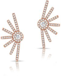 Anne Sisteron - 14kt Rose Gold Diamond Deco Stud Earrings - Lyst