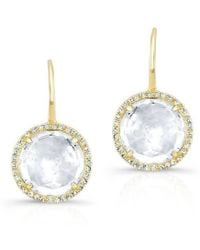 Anne Sisteron - 14kt Yellow Gold White Topaz Diamond Round Earrings - Lyst