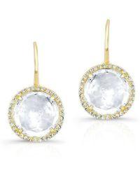 Anne Sisteron | 14kt Yellow Gold White Topaz Diamond Round Earrings | Lyst