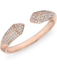 Anne Sisteron - 14kt Rose Gold Diamond Pyramid Horn Ring - Lyst