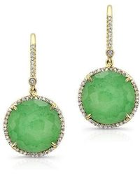 Anne Sisteron - 14kt Yellow Gold Chrysoprase Diamond Round Earrings - Lyst