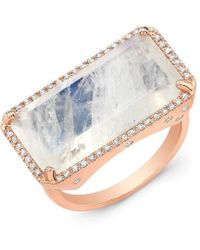 Anne Sisteron - 14kt Rose Gold Diamond Base Moonstone Ring - Lyst