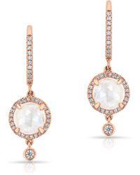 Anne Sisteron - 14kt Rose Gold Diamond Moonstone Kennedy Wireback Earrings - Lyst